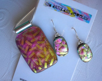 Dichroic Glass Jewelry Set Pink and Gold Jimmies Pendant and Earrings Set .925 Sterling Silver Earwires Statement Dangle Drop Color Shifting