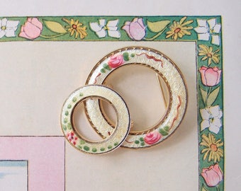 1930s Guilloche Rose Enamel Brooch Pins set of 2 yellow pink green circle wreath design