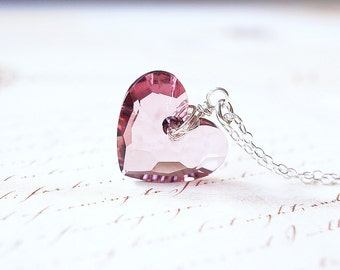 Necklace, Heart Necklace, Crystal Necklace, Silver Necklace, Blush Necklace, Pink Necklace, Swarovski Crystal, Handmade Necklace, Gift