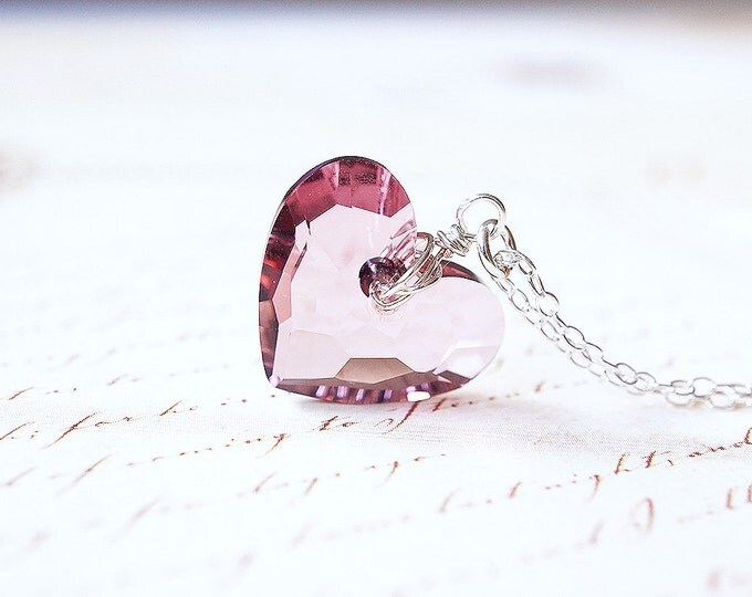 Featured listing image: SALE - Necklace, Heart Necklace, Crystal Necklace, Silver Necklace, Blush Necklace, Pink Necklace, Swarovski Crystal, Handmade Necklace