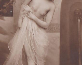 Exquisite Solitary Bather, Image 8, Vintage German Postcard by NPG, circa 1910