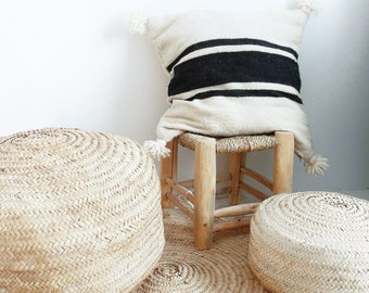 RESERVED - Moroccan POM POM pillow cover - wool natural undyed with black stripes