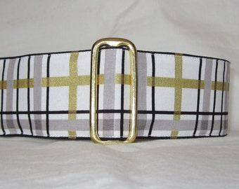 Winter Plaid Martingale Dog Collar - 1.5 or 2 Inch - black gold silver handsome stripes