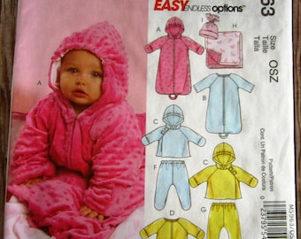 Easy to Sew Infants Lined Buntings and Jacket, Jumpsuits, Pants, Reversible Blanket and Hat Sizes NB S M L McCalls Pattern M5963 UNCUT
