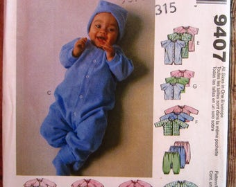 Infants and Preemie Layette (for stretch knits) Gowns, Rompers, Tops, Pants, Cap and Booties Sizes P-NB-S-M McCalls Pattern 9407 UNCUT