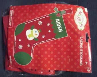 Christmas Stocking Child's Stocking Make Your Own Stocking DIY Christmas Children's Christmas Craft Christmas Lacing Stocking
