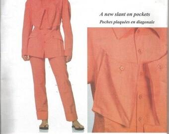 1990s Issey Miyake Avant Garde Jacket Pants Slanted Pockets Vogue Designer Original Vogue 2271 Uncut FF Sz 12 Bust 34 Women's Sewing Pattern