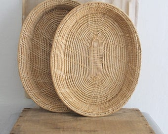 Vintage Decorative Woven Basket Tray