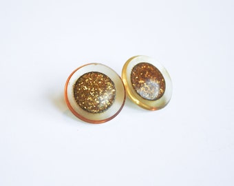Large Gold Lucite Button Earrings