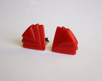 Red Art Deco style Clip Earrings