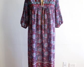 Purple Floral Kaftan Dress m-l