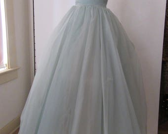 Pale Blue 1950-1960s Long Prom Dress