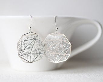 Shimmering Glitter Silver Foil - Transparent Resin Geometric Earrings