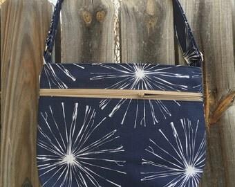 Zipper Pocket Cross Body Bag - Blue and white