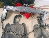 Art Nouveau Etched Design German Silver Purse Frame, Designer's Handbag Accessory, Victorian Elegance