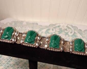 Vintage Sterling and Onyx Bracelet - Silver and Dark Green Onyx Carved Link Bracelet  -  K - 1703