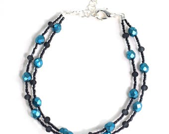 10 Inch Ankle Bracelet - Black and Blue - Ankle Bracelet - 2 Layers