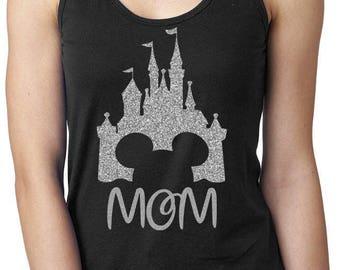 Ladies Personalized Disney Magic Kingdom Castle Black Racerback Tank for Disney Mom, You Choose Tank and Glitter Color, Disney Vacation Tank