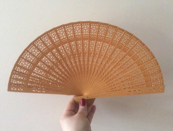 Regency/Victorian Style Fan. Gold Wooden Fretwork.