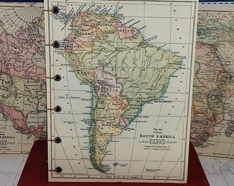 South America Travel Sketch Journal with Vintage Geography Map and Coptic-bound Hardcovers