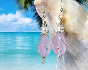 Pink teardrop seaglass beads white pearl wire wrapped earrings beach tumbled glass earrings