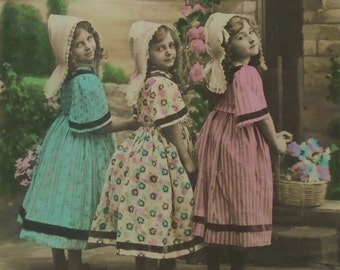 Antique French Postcard - Three Cute Girls in Clogs