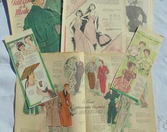 Vintage 1950's French Fashion Images & Illustrations Ephemera Pack