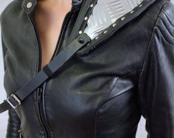 Shoulder Armour - Black Rubber, Foil, Leather - apocalypse, wasteland, fury road, mad max, please read description for sizes