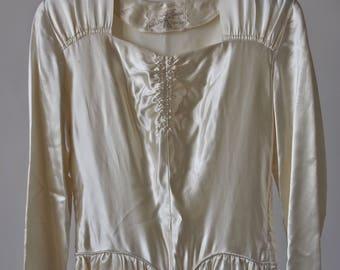 40's Emma Domb Wedding Gown Ivory Liquid Satin Full Skirt Dress Size XS