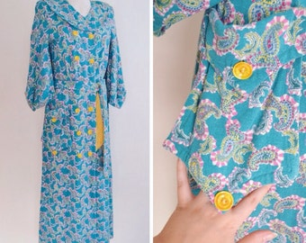 1940s cc41 Aqua blue & yellow paisley wool maxi housecoat / 40s Double Elevens Dinner Plate label woollen dressing gown robe - S M