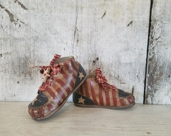 Americana Vintage Toddler Shoes, Americana Decor, Primitive Americana, Painted Americana, Primitive Decor, Country Decor, 4th of July