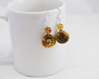 Czech Glass Earrings, Yellow Earrings, Boho Earrings, Cream Earrings, Brown Earrings, Glass Drop Earrings, Gift for Her, Rustic Earrings