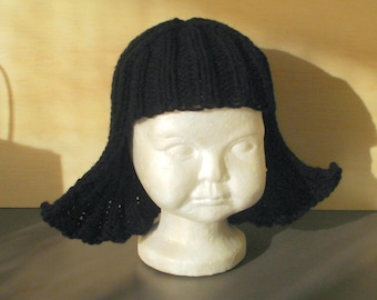 Baby Size Black Hat Hair Knit Wig Baby Wig Black Wig Halloween Costume