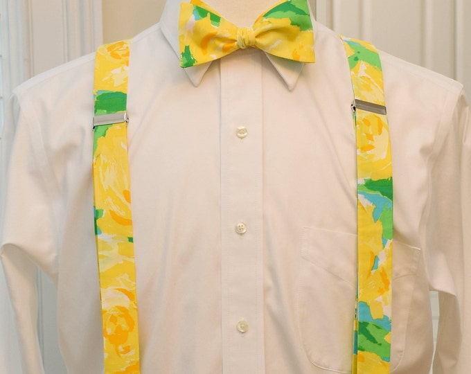 Men's Suspenders and Bow Tie set, Lilly yellow First Impressions, custom menswear clip-on suspenders, wedding party wear, groomsmen's gift
