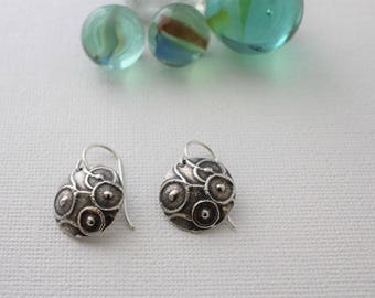 Round Silver Circle Earrings