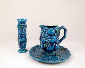 Vintage Indigo Blue & Green Platter, Pitcher and Candle Holder