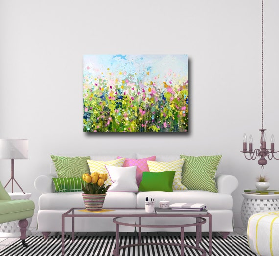 Large Floral Canvas Wall Art Green Blue Pink White Abstract