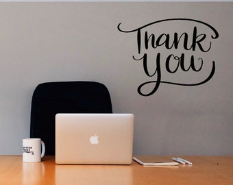 THANK YOU SIGN / thank you wall decal, thank you vinyl decal, business door sign, business decal