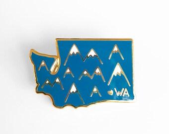 Washington Mountains Enamel Pin - Washington State Pin