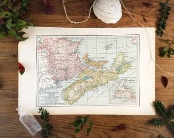 Maritime Province Of Canada Map - New Brunswick, Nova Scotia & Prince Edward Island, Vintage 1930's Industrial Library Office Decor