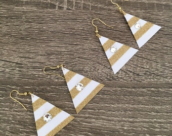 2 PAIRS gold and white striped triangle earrings with Swarovski crystal, glitter card stock
