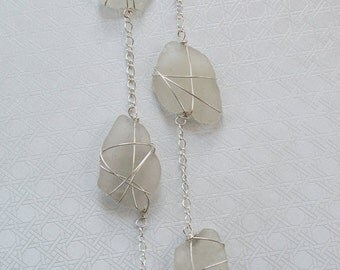 Silver Wrapped White/Purple Sea Glass Long Necklace