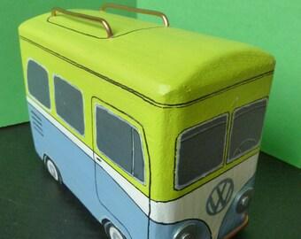 VW - Volkswagen Bus - Hippie Peace & Love Bus - Wooden toys - Painted wood Sculpture - VW Bus - Art carving - Vintage VW - Hippies Vw