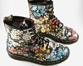 Floral Doc Martens 8-hole combat boots. 90s Vintage Dr. Martens Sienna Miller UK 5 // US 7
