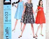Vintage 1960s Dress Pattern McCall's 8402 tent MIni Dress Mod Hippie Go Go Bust 32 tee shirt T-shirt retro sleeveless