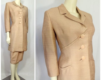 Vintage Helen Rose women's suit Jacket pencil skirt Seam details 1950s couture lined silk wool mother of the bride Wedding suit