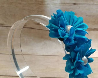 Turquoise Headband, Headband, Flower Headband, Girls Headband, Teen Headband, Satin Lined Headband, Fabric Headband