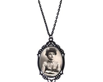 Vintage Tattooed Lady  30x40mm Glass Black Cameo Chain Necklace