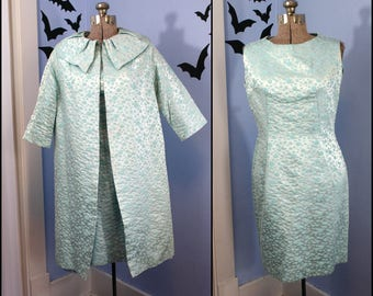 Womens Vintage 1950s 1960s Matched Dress and Jacket Two Piece Set Turquoise Polka Dots Modern Large Retro Mad Men Style Cocktail Party