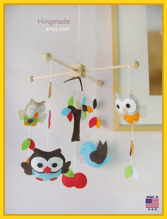 Baby Mobile,Woodland Friends Mobile,Nursery decoration, Aqua Nursery Owl, Owls and Bird in the tree top, Match Bedding Mobile